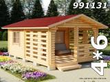 Беседка с садовым домиком 4х6 метра из мини-бруса Зима-Лето